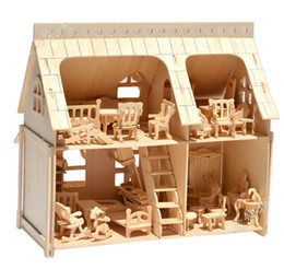 full house toys 2019 - Large Porch Full House Veranda DIY Model 3D jigsaw Puzzles Scale Building 34 pcs Furnitures 33*30*20 wooden architecture