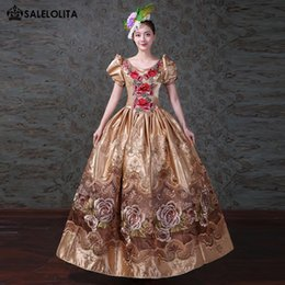 reenactment clothing NZ - 2018 Gold Printed Marie Antoinette Dress Renaissance Georgian Southern Belle Dress Princess Theater Reenactment Clothing