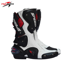 Профессиональные байкерские кожаные мотоциклетные сапоги Pro Biker SPEED Racing Boots Motocross Drop Resistance Waterproof Riding Racing