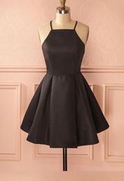 Vintage A-Line Halter Satén corto negro vestido de fiesta con bolsillos Vestido De Festa Sexy espagueti correas baratos vestidos formales para niña