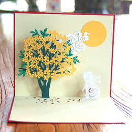 free 3d rabbit 2021 - 3D Pop Up Chinese style Greeting Card Handmade Osmanthus Tree Rabbit Birthday Postcard Craft Free shipping