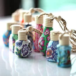 $enCountryForm.capitalKeyWord Australia - 10ml-15ml Car hang decoration handmade polymer clay essence oil Perfume bottle Hand Drawing Hanging rope empty bottle