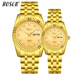 Luxury Watch Gold Plated NZ - BOSCK classic steel band men watch Double calendar night light waterproof watch for lovers Luxury gold-plated quartz 2018