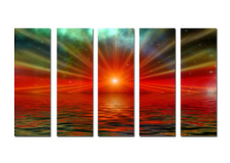 $enCountryForm.capitalKeyWord Australia - Large Hot Modern Contemporary Canvas Wall Art Print Painting Sea Sunset Landscape Seascape 5 Pieces picture Living Room Home Decor Aset289