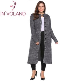 IN'VOLAND Frauen Pullover Cardigan Plus Größe XL-5XL Herbst Winter Langarm Button Down Rippe Stricken Long Large Coat Tops Big Size