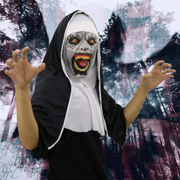 horrible cosplay 2020 - Cosplay Scary Halloween Mask Horrible Latex Nun Mask Melting Face Costume Halloween Masquerade Freeshipping #FO03 cheap