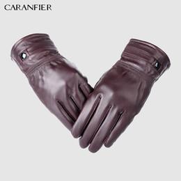 Men Gloves Leather Sheepskin Australia - CARANFIER Mens Genuine Leather Gloves Winter Thermal Thickening Warm Sheepskin Velvet Outdoor Glove Fashion Driving Men Gloves S1025