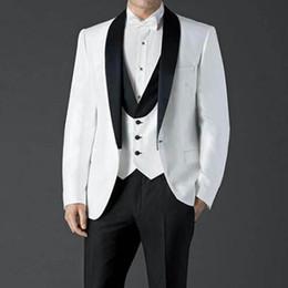 $enCountryForm.capitalKeyWord Canada - 2018 Custom Made Three Piece White Wedding Suit Cheap Groomsmen Tuxedos Black Shawl Lapel One Button Best Men Suits (Jacket+Pants+Vest)
