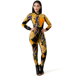 Wholesale Sexy Women Fitness Jumpsuit Contrast Colorblock Chain Print Zipper Workout Catsuit Long Sleeve Bodycon Night Clubwear Yellow