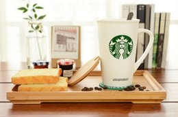 Starbucks Coaster Australia - Classic Starbucks Green Mermaid logo mug leave message cup ceramics Coffee cup with Stainless steel Spoon Coaster cover
