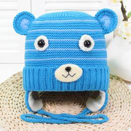 aaa65f51caf baby hat 2018 winter kids boy add wool cartoon bear ear muff hat knitted cap  super soft knitted hats