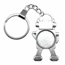 ball robot NZ - 6 Pieces Key Chain Women Key Rings Couple Keychain For Keys Steampunk Robot Inner Size 20mm Round Cabochon Cameo Base Tray Bezel Blank