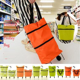 Wholesale fashion shopping trolleys online – design Shopping Trolley Bag With Wheels Portable Foldable Shopping Bag reusable storage Shopping Wheels Rolling Grocery Tote Handbag