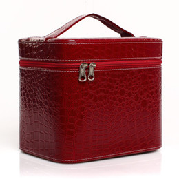 Professiona Women'sl PU Make-up-Box Tasche mit High Heel-Muster Portable Cartoon Make-up Case Leder Beauty Case Trunk Hand Coametic Bag