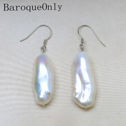 Discount french hooks - BaroqueOnly 12-29mm Baroque Pearl Earrings Natural Freshwater Pearl 925 Silver French Hook Dangle Earrings Beat Gifts EC