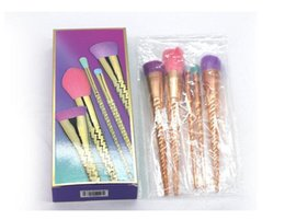 Goat Hair Dhl Australia - Hot 5pcs bright color rose gold make-up brush makeup tools 5pcs set makeup tools Contour makeup brush DHL shipping
