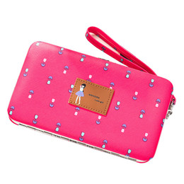 Wholesale New Women s Wallet Long Japan Korea Cute Flower Wallet Wristband Multi function Lunch Box Mobile Phone Bag Card Holder Purse