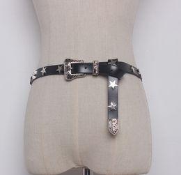 0eed72a615e  To Gladself  Women s Fashion Vintage Designer Real Genuine Leather Star  Rivet Punk Rock Gothic Buckle Waist Belt for Women Men
