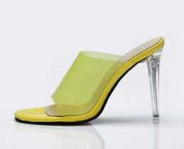 671a39a6da6f5 Sandali da donna in PVC giallo trasparente Slingback Estate Tacchi a spillo  trasparenti Scarpe donna Sandali aperti con tacchi alti da donna