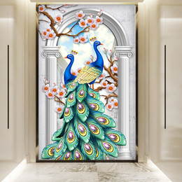 Crystals Souvenir Australia - New Pattern Diamonds Picture Northern Europe Auspicious Peacock Crystal Drill Hallway A Living Room Fully-jewelled Cross Embroidery A Living