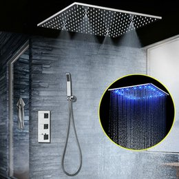 "China Concealed Thermostatic Shower Set SUS304 Mirror Finished Panel with 20"" Embedded Ceiling LED Shower Head Rainfall Mist SPA hm cheap mist shower suppliers"