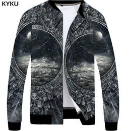 Zipper Clothes Australia - KYKU Galaxy Jacket Men Space Metal Coat Bomber Moon 3d Print Jacket Black Anime Mens Clothing Hip Hop New Fashion Zipper Jackets