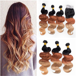 Discount 1b 33 human hair - #1B 33 27 Honey Blonde Ombre 4x4 Lace Closure with Weaves Extensions Three Tone Colored Virgin Peruvian Body Wave Human