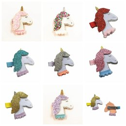 Wholesale Unicorn Hair clips for Baby Toddlers Glitter Felt Unicorn Barrettes Unicornio Handmade Hair Accessories Unicorn Birthday Party Gifts Ideas