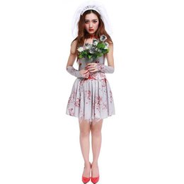 China Halloween Purim Scary White Blood Zombie Corpse Bride Costume Adult Costumes Cosplay Dress For Women Ghost Doctor Nurse supplier zombie woman costume suppliers