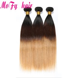 Malaysian Straight Hair Weave Australia - Ombre Brazilian Malaysian Indian Peruvian Straight Human Hair Weave Bundles T1B 4 27 Blonde Ombre Human Hair Bundles Remy Hair Weaving