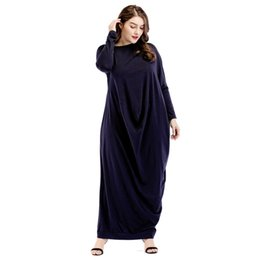 53f74a8a8c Middle East Abaya Dress Muslims Pure Color Casual Arabian Robe Elegance Party  Gown Maxi Dresses
