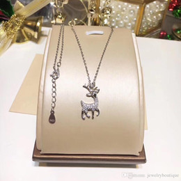 Deer White Pendant NZ - Deer shape pendant necklace for S925 Sterling Silver Necklace women luxury christmas gift fashion wedding party diamond Necklaces PS5098