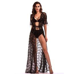 295b07dca6 Hot Sexy Bikini Cover-Up Dresses Sequined Tassels Maxi Casual Dresses Deep  V-Neck Short Sleeve Kimono Dress Beach Party Prom Dresses LJH0402