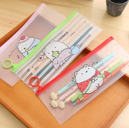 cute waterproof bag Australia - pencil bags korean stationery cute cartoons transparent waterproof PVC pencil cases storage organizer pen bags pouch school office supply