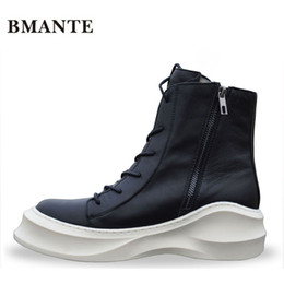 high shoes zippers for men UK - Zipper Real leather bootie brand fashion male Casual shoe tall Footwear high top Thick sole tide Platform Harajuku boots for men