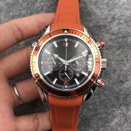 $enCountryForm.capitalKeyWord Canada - Hot men LUXURY quality watch Orange ceramic bezel rubber strap Chronometer quartz movement wristwatch men 42MM diameter men top qualitywatch