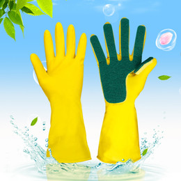 2pcs lot Home Washing spone Cleaning Gloves Kitchen Dish Sponge Fingers Rubber Household Sponge Finger Supply Dishwashing Gloves FFA1042 on Sale