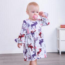 Pagoda sleeves dress online shopping - Baby Christmas Dresses Santa Tree Deer Elk Snowflake Ruffle Frills Knee length Pagoda Sleeve Dress Infant Toddler Baby Girl Designer Clothes