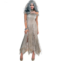 Chinese  2018 Women Vampire Zombie Dress Halloween Ghost Bride Cosplay Spiritual Love Gray Dress for Women Halloween Costumes manufacturers