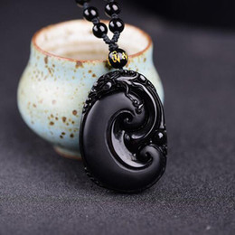Black Hand Pendant Australia - Natural Black Obsidian Hand Carved Ruyi Lucky Amulet Blessing Charm Pendants Necklace Fine Fashion Jewelry Women Men