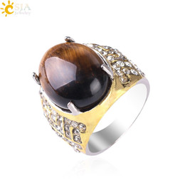 factory rings NZ - CSJA CZ Diamond Rings for Men Women Natural Tiger Eye Oval Gemstone Bling Jewelry 20pcs Wholesale Factory Price Handmade Gold Ring S113
