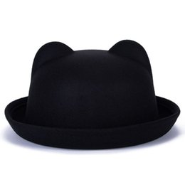 Women Fashion Vintage Wool Horn Parent-Child Bowler Fedora Hats Unisex Cat  Ear Cap bb0924a58f99