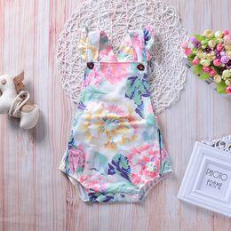 $enCountryForm.capitalKeyWord NZ - 2018 summer infant baby girls toddler flower romper jumpsuit sunsuit bodysuit ruffle kid clothing cotton baby girl clothes wholesale 0-24M