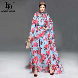97977af38f46 LD LINDA DELLA Fashion Runway Designer Jumpsuit Women's Long Sleeve Casual  Rose Floral Print Loose Elegant Jumpsuit +Cloak