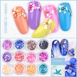 color stone charms NZ - 1Set Mixed Color Natural Shell Stones Charm 3D Nail Art Decorations Irregular Broken Thin Flakes DIY Manicure Nails Accessories