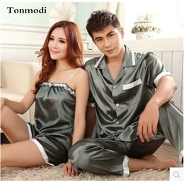 584c354885 Pajamas Women Summer Silk Satin Sleepwear Love Men Sleep Ladies Pyjamas  Women s Pajamas Sling Couple Pajamas Set