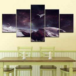 Art Canvas Prints Australia - Living Room Framework Modern Canvas 5 Panel Cosmic Planet Home Decoration Printed Pictures Painting Wall Art Modular HD Poster