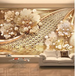 EldEr flowEr online shopping - Custom retail five golden flower swan butterfly drill shop lake jewelry TV background wall decoration mural