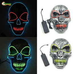 rave props NZ - Party Cosplay Mask Button LED Light Up Flashing Skull Mask Skeleton Halloween Rave Party Lighting Festival Horror Mask Props