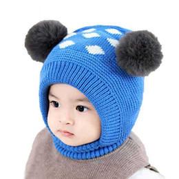 518f1561a65 Child Baby Hat Winter Boys Warm Earflap Beanies Hats With Pompom Girls  Diamond Jacquard Ear Flaps Cap Knit Ribbed Skullies MZ7098
